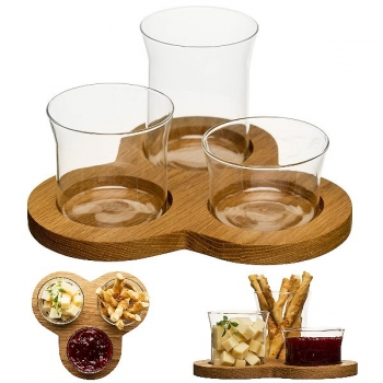 Sagaform Serving Bowl Set with 3 bowls, oak/glass, l 21 x w 21 x H 15 cm