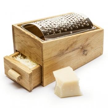 Sagaform Käsereibe aus Eichenholz mit Schublade und Edelstahlreibe, L 14 x B 8,5 x H 9 cm