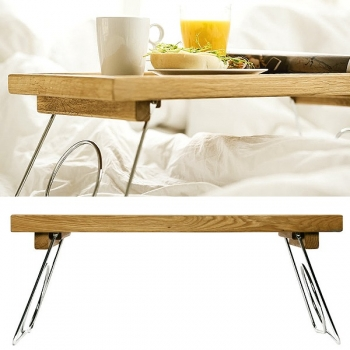 Sagaform Design-Bed-Tray, collapsible, oak wood/stainless steel, l 50 x w 30 x h 25 cm