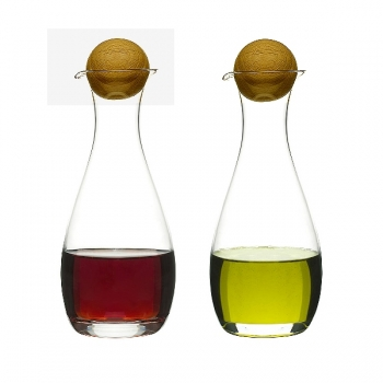 Sagaform Design Oil and Vinegar Set, mouthblown glass with oak wood stoppers, h 19 x Ø 7 cm