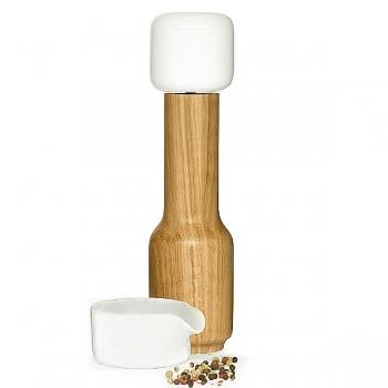 Sagaform Design Spice/Pepper/Salt Mill with collecting cup, ceramic/oak, ceramic grinder, H 25 cm