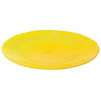 DutZ®-Collection glass plate/tray, Ø 47 cm, yellow with bubbles