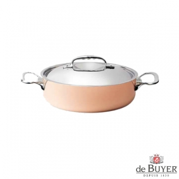 de Buyer, Pot, low with handles and lid, for induction, 90% copper, 10% stainless steel, solid stainless steel handles, Ø 20 x h 5.8 cm, 1.8 l
