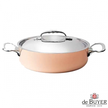 de Buyer, Pot, low with handles and lid, for induction, 90% copper, 10% stainless steel, solid stainless steel handles, Ø 28 x h 9.2 cm, 4.5 l