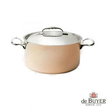 de Buyer, Pot, high with handles and lid, for induction, 90% copper, 10% stainless steel, solid stainless steel handles, Ø 16 x h 8.8 cm, 1.8 l