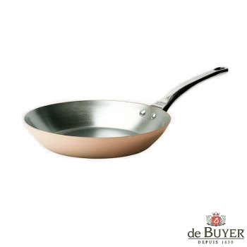 de Buyer, Pan, round, for induction, 90% copper, 10% stainless steel, solid stainless steel handle, Ø 20 cm