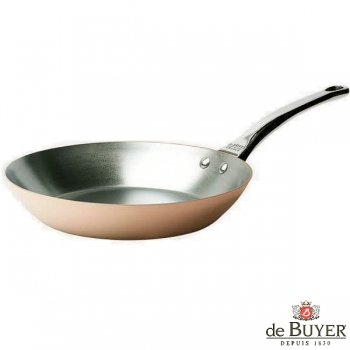 de Buyer, Pan, round, for induction, 90% copper, 10% stainless steel, solid stainless steel handle, Ø 32 cm