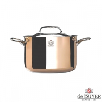 de Buyer, Pot, high with handles and lid, for induction, 90% copper, 10% stainless steel, solid stainless steel handles, Ø 24 x h 16 cm, 7.5 l