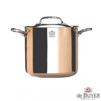 de Buyer, Pot, high with handles and lid, for induction, 90% copper, 10% stainless steel, solid stainless steel handles, Ø 20 x h 18 cm, 5.7 l