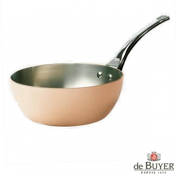 de Buyer, Sauteuse, conical with handle, for induction, 90% copper, 10% stainless steel, solid stainless steel handle, Ø 24 x h 7.0 cm, 3.0 l