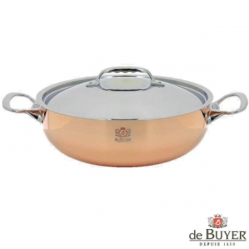de Buyer, Sautoir, conical with handles and lid, for induction, 90% copper, 10% stainless steel, solid stainless steel handles, Ø 28 x h 9.2 cm, 4.5 l