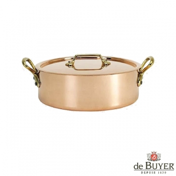 de Buyer, Sautoir with handles and lid, low, 90% copper, 10% stainless steel, solid brass handles, Ø 20 x h 5.8 cm, 1.8 l