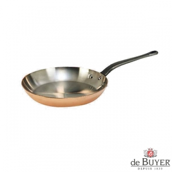 de Buyer, Pan, round, 90% copper, 10% stainless steel, solid cast iron handle, Ø 20 cm
