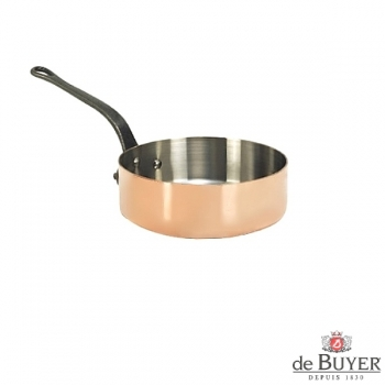 de Buyer, Sauteuse with handle, straight, 90% copper, 10% stainless steel, solid cast iron handle, Ø 16 x h 5,0 cm, 1.5 l
