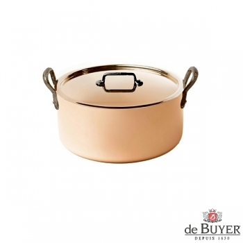 de Buyer, Pot Cocotte with handles and lid, 90% copper, 10% stainless steel, solid cast iron handles, Ø 16 x h 5.0 cm, 1.5 l