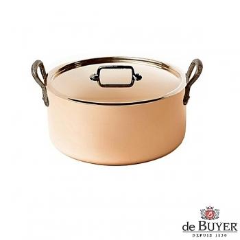 de Buyer, Pot Cocotte with handles and lid, 90% copper, 10% stainless steel, solid cast iron handles, Ø 20 x h 6,0 cm, 1.8 l