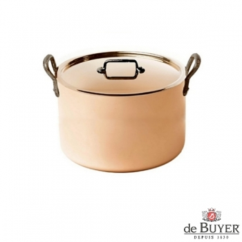 de Buyer, Pot high with handles and lid, 90% copper, 10% stainless steel, solid cast iron handles, Ø 24 x h 16 cm, 7.5 l