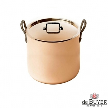 de Buyer, Pot high with handles and lid, 90% copper, 10% stainless steel, solid cast iron handles, Ø 20 x h 18 cm, 5.7 l