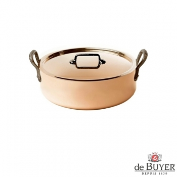 de Buyer, Pot low with handles and lid, 90% copper, 10% stainless steel, solid cast iron handles, Ø 20 x H 6.0 cm, 1.8 l