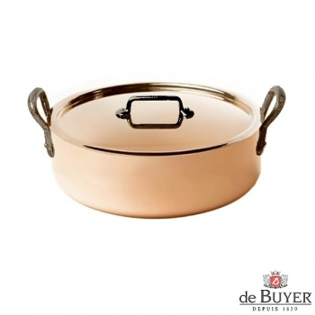de Buyer, Pot low with handles and lid, 90% copper, 10% stainless steel, solid cast iron handles, Ø 24 x h 7.0 cm, 3.0 l