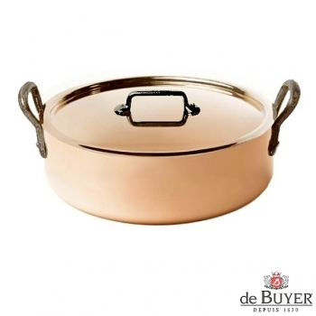 de Buyer, Pot low with handles and lid, 90% copper, 10% stainless steel, solid cast iron handles, Ø 28 x h 7.5 cm, 4.9 l