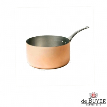 de Buyer, Casserole, 90% copper, 10% stainless steel, solid cast stainless steel handle, Ø 14 x h 8 cm, 1.2 l