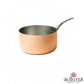 de Buyer, Casserole, 90% copper, 10% stainless steel, solid cast stainless steel handle, Ø 16 x h 9 cm, 1.8 l