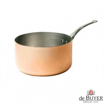 de Buyer, Casserole, 90% copper, 10% stainless steel, solid cast stainless steel handle, Ø 20 x h 10.5 cm, 3.3 l
