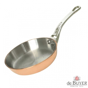 de Buyer, Pan, round, 90% copper, 10% stainless steel, solid cast stainless steel handle, Ø 24 cm