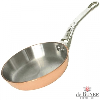 de Buyer, Pan, round, 90% copper, 10% stainless steel, solid cast stainless steel handle, Ø 32 cm