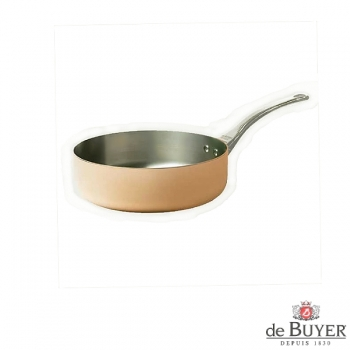 de Buyer, Sauteuse with handle, straight, 90% copper, 10% stainless steel, solid cast stainless steel handle, Ø 16 x h 6.0 cm, 0.9 l
