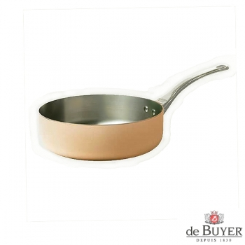 de Buyer, Sauteuse with handle, straight, 90% copper, 10% stainless steel, solid cast stainless steel handle, Ø 20 x h 6.0 cm, 1.8 l