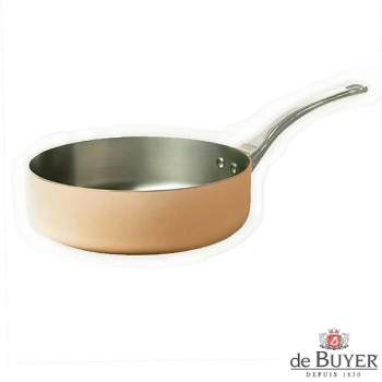 de Buyer, Sauteuse with handle, straight, 90% copper, 10% stainless steel, solid cast stainless steel handle, Ø 24 x h 7.0 cm, 3.1 l