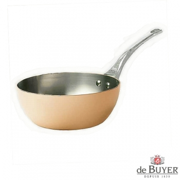 de Buyer, Sauteuse with handle, conical, 90% copper, 10% stainless steel, solid cast stainless steel handle, Ø 20 x h 8.0 cm, 1.7 l