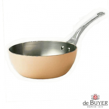 de Buyer, Sauteuse with handle, conical, 90% copper, 10% stainless steel, solid cast stainless steel handle, Ø 24 x h 9.0 cm, 2.9 l