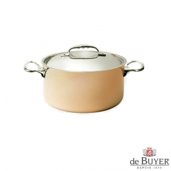 de Buyer, Pot high with handles and lid, 90% copper, 10% stainless steel, solid cast stainless steel handles, Ø 16 x H 8.8 cm, 1.8 l
