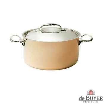 de Buyer, Pot high with handles and lid, 90% copper, 10% stainless steel, solid cast stainless steel handles, Ø 20 x h 10,5 cm, 3.3 l