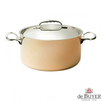 de Buyer, Pot high with handles and lid, 90% copper, 10% stainless steel, solid cast stainless steel handles, Ø 24 x h 11.5 cm, 5.4 l
