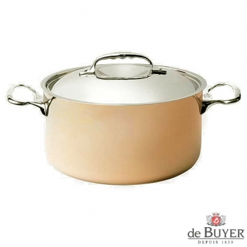 de Buyer, Pot high with handles and lid, 90% copper, 10% stainless steel, solid cast stainless steel handles, Ø 28 x H 18 cm, 8 l