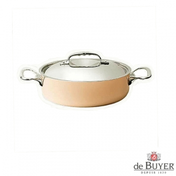 de Buyer, Pot low with handles and lid, 90% copper, 10% stainless steel, solid cast stainless steel handles, Ø 20 x H 6.0 cm, 1.8 l