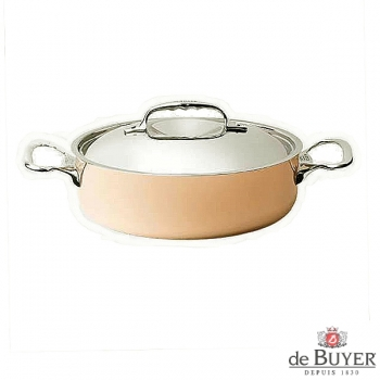 de Buyer, Pot low with handles and lid, 90% copper, 10% stainless steel, solid cast stainless steel handles, Ø 24 x h 7.0 cm, 3.0 l