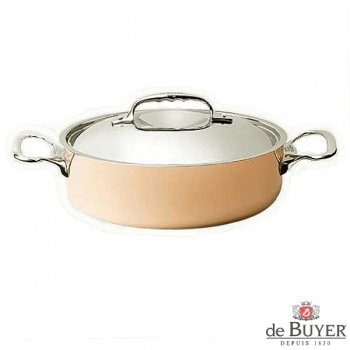 de Buyer, Pot low with handles and lid, 90% copper, 10% stainless steel, solid cast stainless steel handles, Ø 28 x h 7.5 cm, 4.9 l