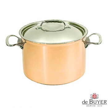 de Buyer, Pot high with handles and lid, 90% copper, 10% stainless steel, solid cast stainless steel handles, Ø 24 x h 16 cm, 7.5 l