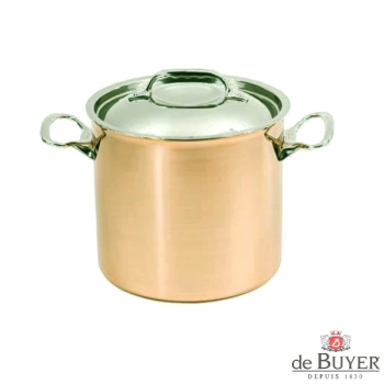de Buyer, Pot high with handles and lid, 90% copper, 10% stainless steel, solid cast stainless steel handles, Ø 20 x h 18 cm, 5.7 l