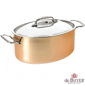 de Buyer, Pot Cocotte oval/Bräter with handles and lid, 90% copper, 10% stainless steel, solid cast stainless steel handles, l 30 x w 22 x h 13 cm, 6.5 l