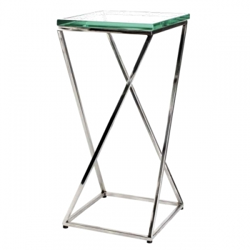 Eichholtz Champagne Cooler/Wine Cooler stand, Side Table Clarion, stainless steel/glass, l 24 x w 24 x h 50 cm