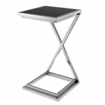 Eichholtz Champagne Cooler/Wine Cooler stand, Side Table Cross, nickeled/glass, l 33 x w 33 x h 60 cm