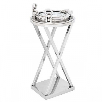 Eichholtz Champagne Cooler/Wine Cooler stand, Side Table Porthole, shiny nickeled/glass, h 61 x Ø 32 cm