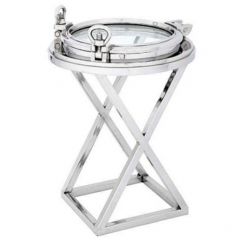 Eichholtz Champagne Cooler/Wine Cooler stand, Side Table Porthole, shiny nickeled/glass, h 76 x Ø 58 cm