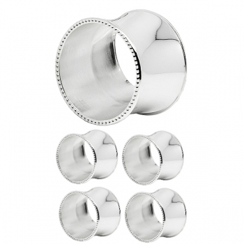 Edzard Napkin Rings Perla, set of 4, round, shiny silver plated, Ø 4 cm